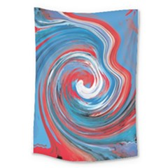 Red And Blue Rounds Large Tapestry by berwies