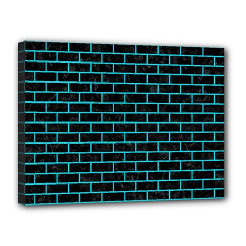 Brick1 Black Marble & Turquoise Colored Pencil (r) Canvas 16  X 12  by trendistuff