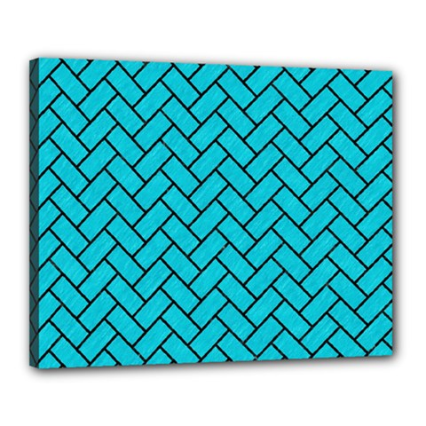 Brick2 Black Marble & Turquoise Colored Pencil Canvas 20  X 16  by trendistuff