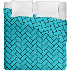 Brick2 Black Marble & Turquoise Colored Pencil Duvet Cover Double Side (king Size)