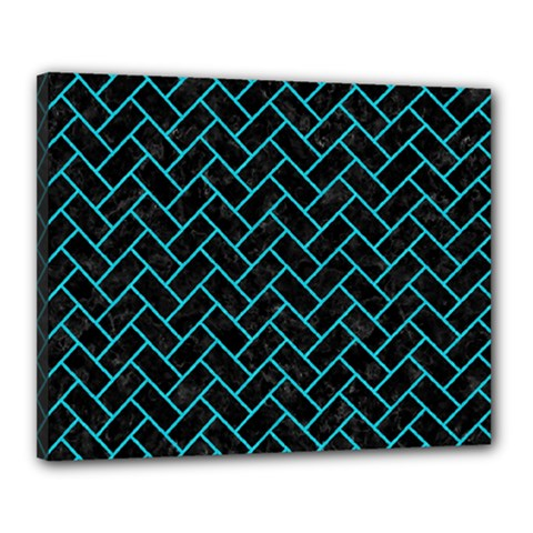 Brick2 Black Marble & Turquoise Colored Pencil (r) Canvas 20  X 16  by trendistuff