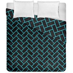Brick2 Black Marble & Turquoise Colored Pencil (r) Duvet Cover Double Side (california King Size)