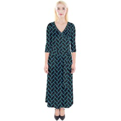Brick2 Black Marble & Turquoise Colored Pencil (r) Quarter Sleeve Wrap Maxi Dress