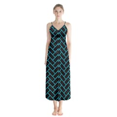 Brick2 Black Marble & Turquoise Colored Pencil (r) Button Up Chiffon Maxi Dress