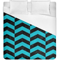 Chevron2 Black Marble & Turquoise Colored Pencil Duvet Cover (king Size) by trendistuff