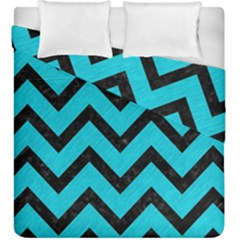 Chevron9 Black Marble & Turquoise Colored Pencil Duvet Cover Double Side (king Size)