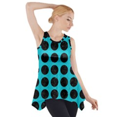 Circles1 Black Marble & Turquoise Colored Pencil Side Drop Tank Tunic
