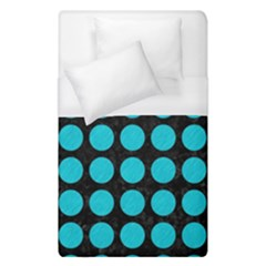 Circles1 Black Marble & Turquoise Colored Pencil (r) Duvet Cover (single Size)
