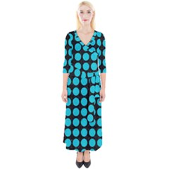 Circles1 Black Marble & Turquoise Colored Pencil (r) Quarter Sleeve Wrap Maxi Dress