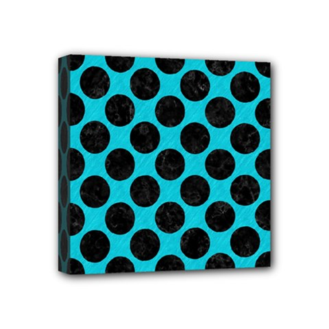 Circles2 Black Marble & Turquoise Colored Pencil Mini Canvas 4  X 4  by trendistuff