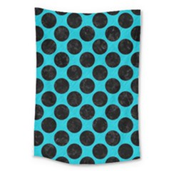 Circles2 Black Marble & Turquoise Colored Pencil Large Tapestry by trendistuff