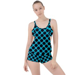 Circles2 Black Marble & Turquoise Colored Pencil Boyleg Tankini Set