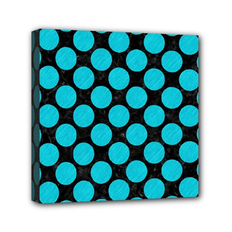 Circles2 Black Marble & Turquoise Colored Pencil (r) Mini Canvas 6  X 6  by trendistuff
