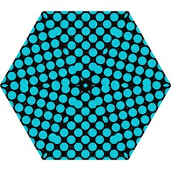 Circles2 Black Marble & Turquoise Colored Pencil (r) Mini Folding Umbrellas by trendistuff