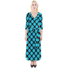 Circles2 Black Marble & Turquoise Colored Pencil (r) Quarter Sleeve Wrap Maxi Dress