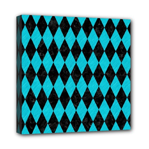 Diamond1 Black Marble & Turquoise Colored Pencil Mini Canvas 8  X 8