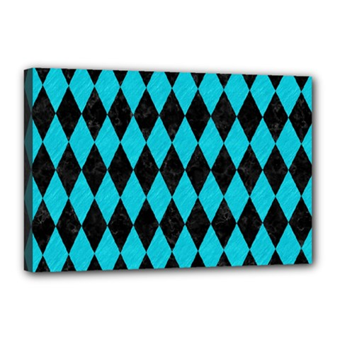 Diamond1 Black Marble & Turquoise Colored Pencil Canvas 18  X 12  by trendistuff
