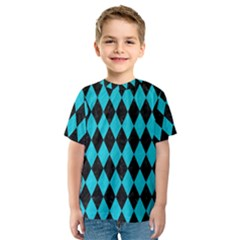 Diamond1 Black Marble & Turquoise Colored Pencil Kids  Sport Mesh Tee