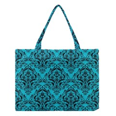 Damask1 Black Marble & Turquoise Colored Pencil Medium Tote Bag by trendistuff