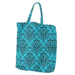 Damask1 Black Marble & Turquoise Colored Pencil Giant Grocery Zipper Tote