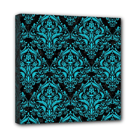 Damask1 Black Marble & Turquoise Colored Pencil (r) Mini Canvas 8  X 8  by trendistuff