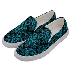 Damask1 Black Marble & Turquoise Colored Pencil (r) Men s Canvas Slip Ons by trendistuff
