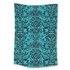 Damask2 Black Marble & Turquoise Colored Pencil Large Tapestry by trendistuff