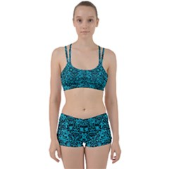 Damask2 Black Marble & Turquoise Colored Pencil Women s Sports Set