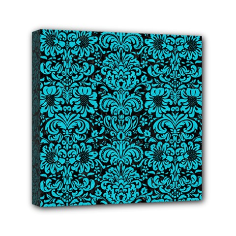 Damask2 Black Marble & Turquoise Colored Pencil (r) Mini Canvas 6  X 6