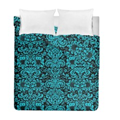 Damask2 Black Marble & Turquoise Colored Pencil (r) Duvet Cover Double Side (full/ Double Size) by trendistuff