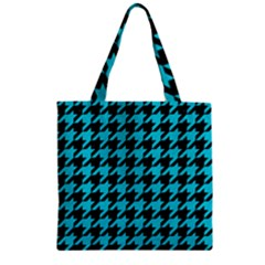 Houndstooth1 Black Marble & Turquoise Colored Pencil Zipper Grocery Tote Bag by trendistuff
