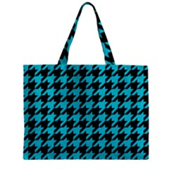 Houndstooth1 Black Marble & Turquoise Colored Pencil Zipper Mini Tote Bag by trendistuff