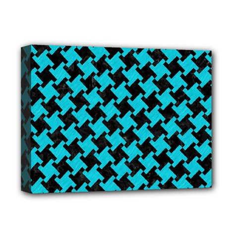 Houndstooth2 Black Marble & Turquoise Colored Pencil Deluxe Canvas 16  X 12   by trendistuff