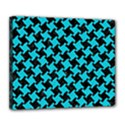 HOUNDSTOOTH2 BLACK MARBLE & TURQUOISE COLORED PENCIL Deluxe Canvas 24  x 20   View1