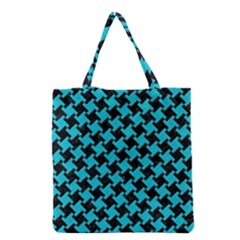 Houndstooth2 Black Marble & Turquoise Colored Pencil Grocery Tote Bag by trendistuff