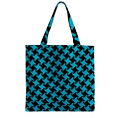 Houndstooth2 Black Marble & Turquoise Colored Pencil Zipper Grocery Tote Bag by trendistuff
