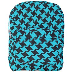 Houndstooth2 Black Marble & Turquoise Colored Pencil Full Print Backpack by trendistuff