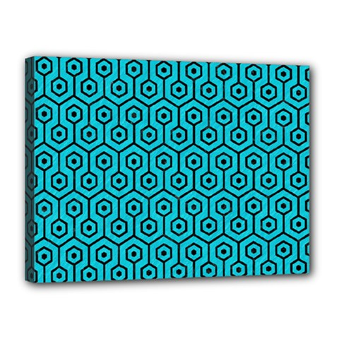 Hexagon1 Black Marble & Turquoise Colored Pencil Canvas 16  X 12  by trendistuff