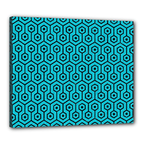 Hexagon1 Black Marble & Turquoise Colored Pencil Canvas 24  X 20  by trendistuff