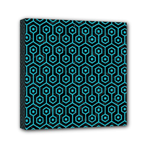 Hexagon1 Black Marble & Turquoise Colored Pencil (r) Mini Canvas 6  X 6  by trendistuff