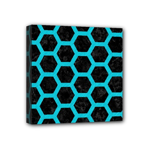 HEXAGON2 BLACK MARBLE & TURQUOISE COLORED PENCIL (R) Mini Canvas 4  x 4