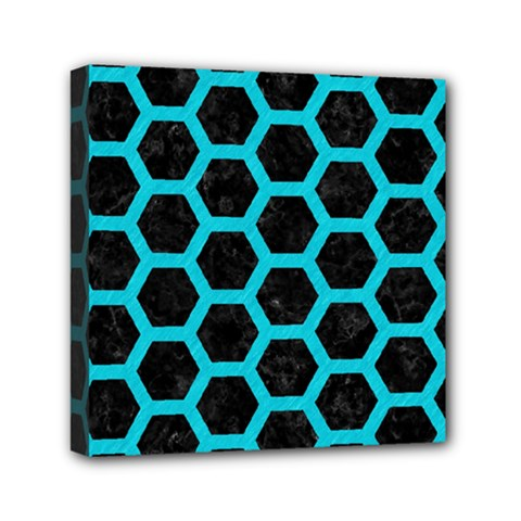 HEXAGON2 BLACK MARBLE & TURQUOISE COLORED PENCIL (R) Mini Canvas 6  x 6
