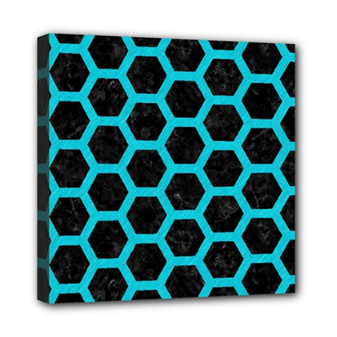 HEXAGON2 BLACK MARBLE & TURQUOISE COLORED PENCIL (R) Mini Canvas 8  x 8
