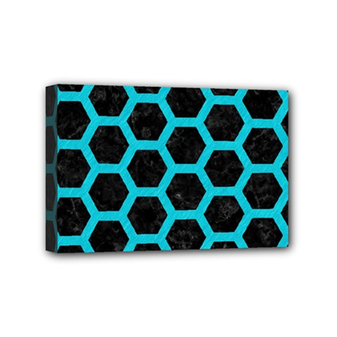 HEXAGON2 BLACK MARBLE & TURQUOISE COLORED PENCIL (R) Mini Canvas 6  x 4
