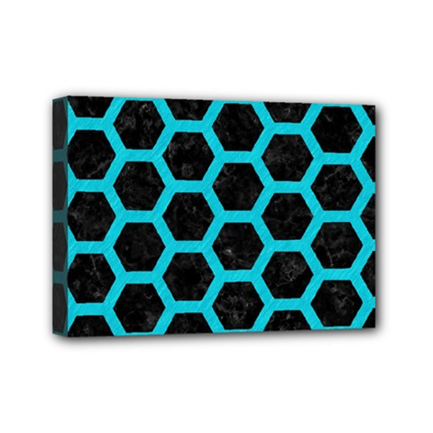 HEXAGON2 BLACK MARBLE & TURQUOISE COLORED PENCIL (R) Mini Canvas 7  x 5
