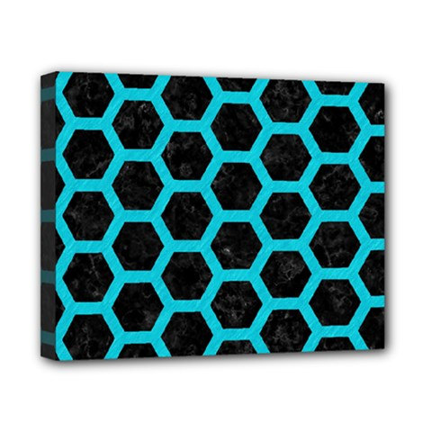 HEXAGON2 BLACK MARBLE & TURQUOISE COLORED PENCIL (R) Canvas 10  x 8