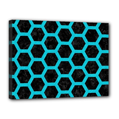 HEXAGON2 BLACK MARBLE & TURQUOISE COLORED PENCIL (R) Canvas 16  x 12