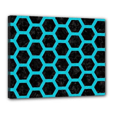 HEXAGON2 BLACK MARBLE & TURQUOISE COLORED PENCIL (R) Canvas 20  x 16