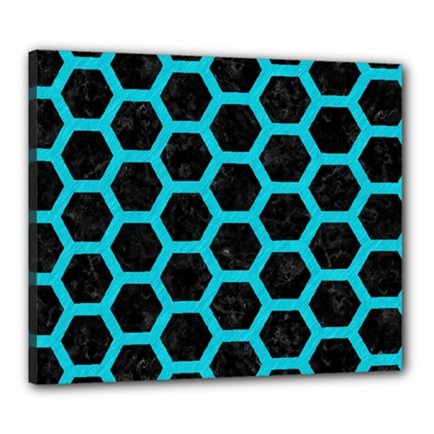 HEXAGON2 BLACK MARBLE & TURQUOISE COLORED PENCIL (R) Canvas 24  x 20