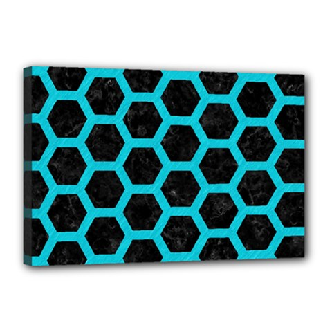 HEXAGON2 BLACK MARBLE & TURQUOISE COLORED PENCIL (R) Canvas 18  x 12